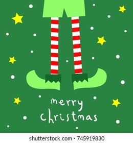 elf christmas card vector