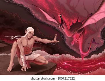 Elf is evoking a dragon. Vector fantasy illustration