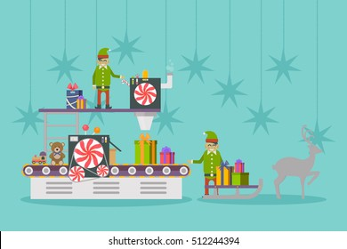 Elf factory or elves workshop, toy production line. Conveyor belt making gift or presents. Toy factory or engineering industry, elf concept, celebration and holiday, festive theme