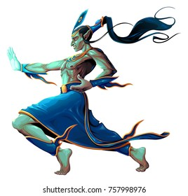 Elf is fighting with martial art pose. Vector isolated character.