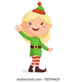 Elf girl cartoon Christmas character
