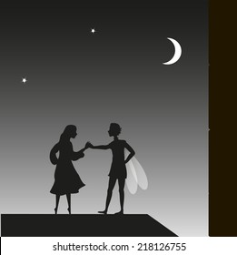 elf and girl, fairy night, Peter Pan and Wendy on the roof, couple, vector