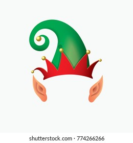 Elf hat, Santa Claus helper with elf ears - isolated vector illustration