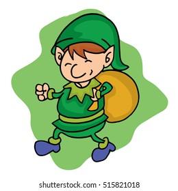 Elf helper with gift bag cartoon
