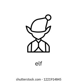 Elf icon. Trendy modern flat linear vector Elf icon on white background from thin line Fairy Tale collection, editable outline stroke vector illustration