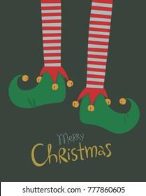 Elf legs Christmas greeting card colorful vector illustration