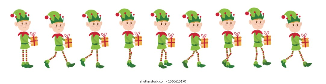 Elf or lepricon, cute cartoon character for animate walks. Christmas or New Year hero of fairy tales, flat style.