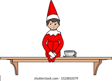 Elf on a shelf with a cup of coffee vector cartoon illustration