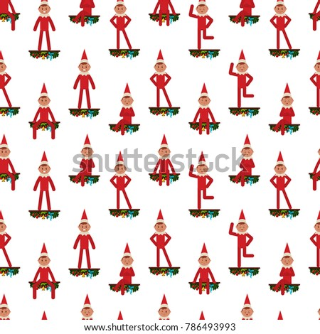 Elf on shelf seamless pattern vector stock vector royalty - Christmas elf on the shelf wallpaper ...