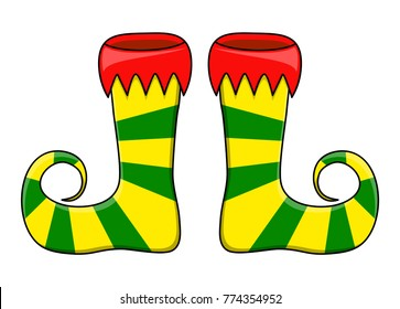 Elf shoes pair stripes design isolated on white background