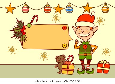 Elf Showing Empty Banner For Text Merry Christmas And Happy New Year Concept Winter Holidays Decoration Vector Illustration