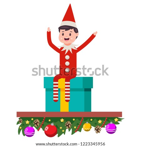 216b54177e7 Elf sitting on gift boxes. Cute Christmas vector cartoon character isolated  on white background.