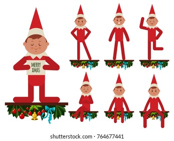 Elf vector cartoon flat character with Christmas decorations. Santa helper in different poses and emotions isolated on white background.
