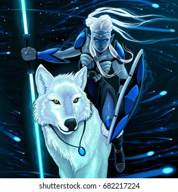 Elf with white wolf. Vector fantasy illustration