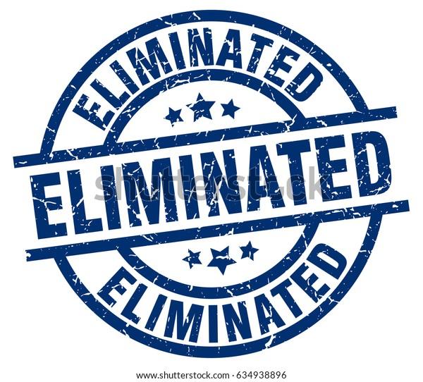 eliminated blue round grunge stamp