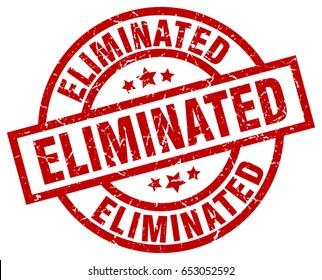 eliminated round red grunge stamp