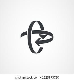 Eliptical arrow, arrow icon. Vector illustration