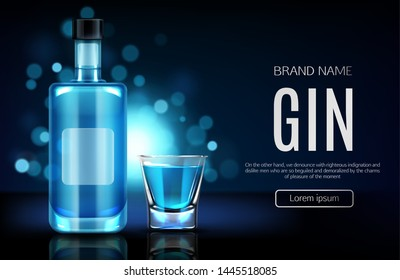 Elite alcohol drinks online shop realistic vector web banner, landing page template. Gin glass bottle with blank label, filled shooter illustration on blurred background with bokeh and blue backlight