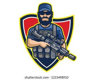 Elite Bearded Male Commando Soldier Carrying Assault Riffle Logo Mascot Badge