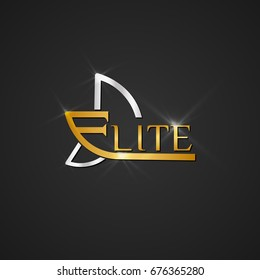 Elite club logo design, glossy icon logo for luxury branding with gold and silver colors. Vector symbol eps10 isolated in black background.