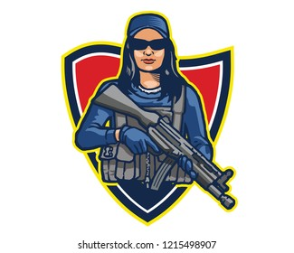 Elite Female Commando Soldier Carrying Assault Riffle Logo Mascot Badge