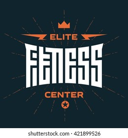 Elite Fitness Center -  emblem or logo with original lettering. Vector print for t-shirt or gym interior.