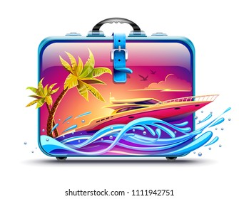Elite luxury rest on yacht among tropical palms at hot islands in sea or ocean. Travel case ready for holidays vacation. High-speed motorboat race by waves at evening sunset sky background. Banner.