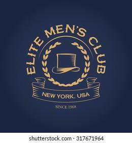 Elite men's club apparel vintage t shirt fashion design, logotype template, men's hat graphic, typographic art. Wall Decor.