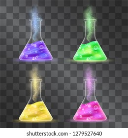 Elixir bottles vector set isolated on transparent background. Magic potions with bubbles and fumes for casting spells, scientific posters for kids. Alchemical beverages in glass test tubes.