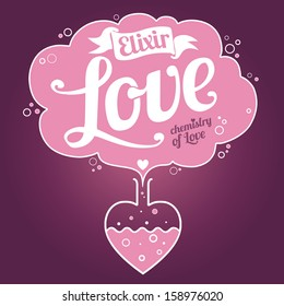 Elixir of Love background. Valentine's Day card