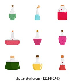 Elixir potion icon set. Flat set of 9 elixir potion vector icons for web design