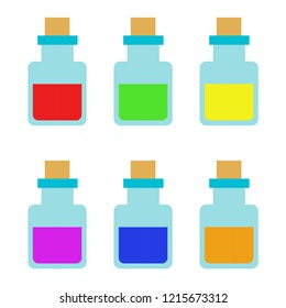 Elixirs. Multi-colored set of elixirs. Set of elixirs. Elixir bottleS. Vector illustration. EPS 10.