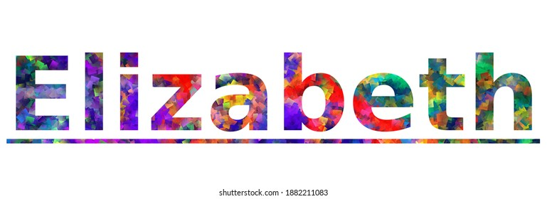 Elizabeth - a city name in New Jersey. Colorful typography text banner. Vector the word elizabeth design. Can be used to logo, card, poster, heading and beautiful title