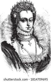 Elizabeth I of England, Vintage engraving. From Popular France, 1869.