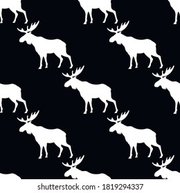 Elk animal silhouette, seamless pattern, vector illustration