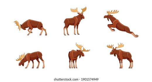 Elk or Bull Moose wild animal set of flat style vector illustrations. Funny character in various cartoon design poses. Isolated on a white background.