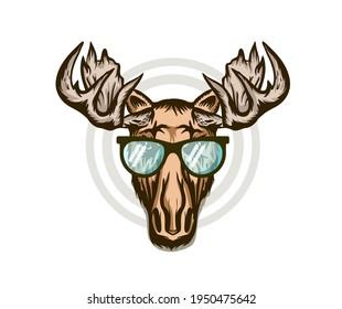 Elk head. Moose stylish head. Isolated vector illustration. Wild animal. Hunting logo. Tattoo tribal style.