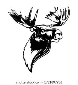 Elk head. Reindeer head isolated vector illustration. Wild animal. Hunting logo.