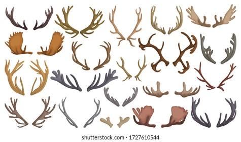 Elk horn crumbs vector cartoon set icon. Vector illustration antler reindeer on white background. Isolated cartoon set icon elk horn.