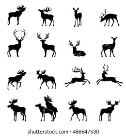 Elk Icon. Deer collection - vector silhouette.