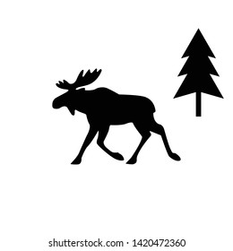Elk Icon Illustration. Flat simple grey symbol on white background with shadow