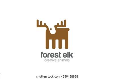 Elk Logo flat design vector template negative space style.  Geometric Deer Logotype silhouette concept icon.