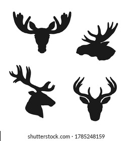 Elk moose and deer silhouettes, animals and hunting vector icons, Elk stag and deer or reindeer and roe heads with antlers and horns, wild hunt and wildlife zoo symbols set