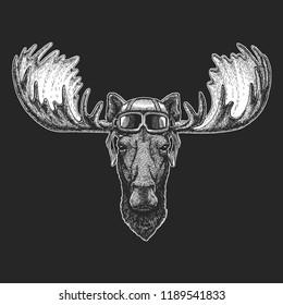 Elk, moose wearing aviator hat. Print for children clothes, tee, t-shirt. Pilot wild animal