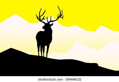 Elk Silhouette on Mountain