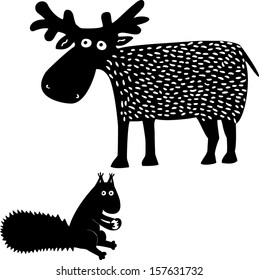 Elk and squirrel. Hand drawn illustration.