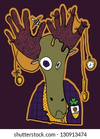 elk vector crazy hipster with different objects in the horns