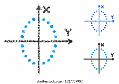 Ellipse plot composition of small circles in various sizes and color tinges, based on ellipse plot icon. Vector small circles are organized into blue composition.