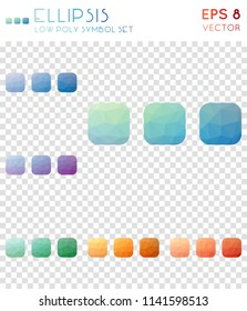 Ellipsis geometric polygonal icons. Appealing mosaic style symbol collection. Pretty low poly style. Modern design. Ellipsis icons set for infographics or presentation.