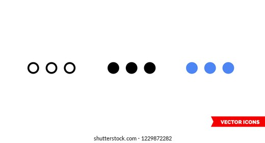 Ellipsis icon of 3 types: color, black and white, outline. Isolated vector sign symbol.